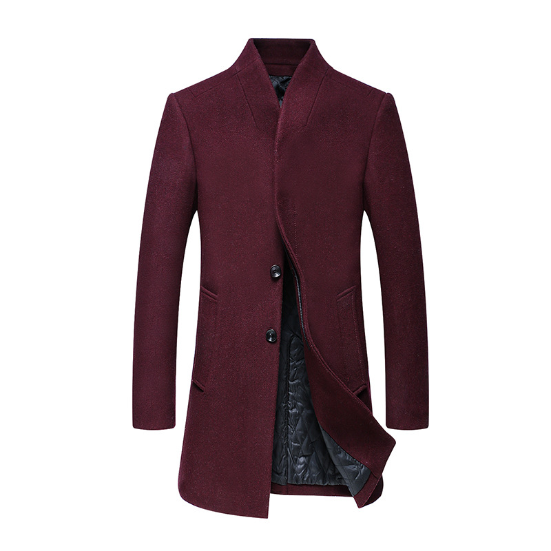 Winter Coat Long Men Padded Warm Cotton Thick Jacket Stand Collar Solid Single Breasted Pockets Red Blue Coats Mens Black   Trench