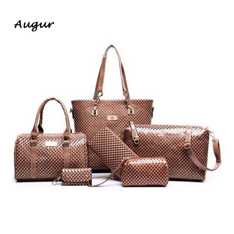 New Fashion Alligator Style Women Handbag Ladies Leather Messenger Bag Crossbody Bag Shoulder Bag Clutch Tote Bag 5 Color 6 Sets