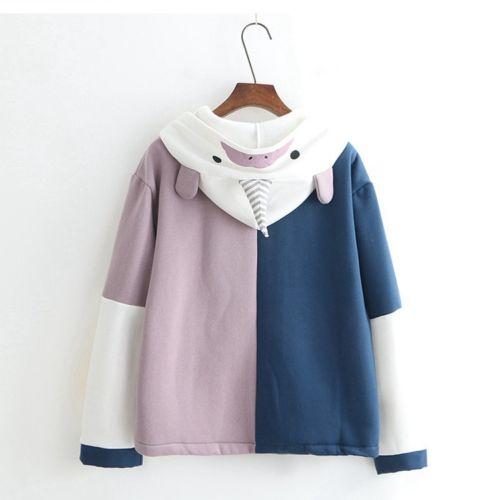 Style Unicorn Pullovers Lolita Patchwork Tops Hooded Women Sweet Autumn Winter Japanese Cute Hoodies Blue Preppy Sweatshirt w5qSxFY6