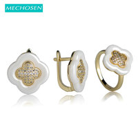 MECHOSEN Shining Ceramic Jewelry Sets Earrings Rings CZ Diamond Clover Aneaux Copper Auskarai White Black Ceramic