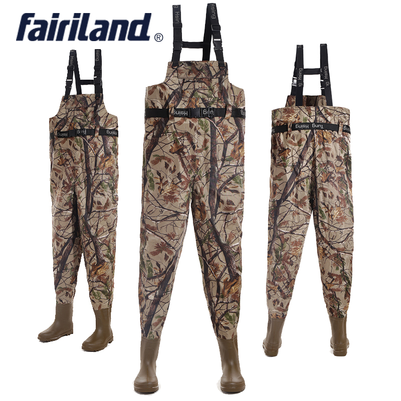 One Piece Fishing Waders Comfortable Over Chest Seamless Welding Thick PVC Boots Fishing Waders adjustable shoulder