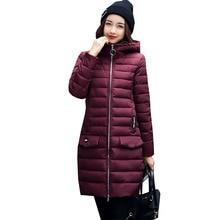 2017 Snow Wear Warm Hooded Winter Jacket Women Fashion Slim Medium Long Cotton Coat New Thick Plus size Outwear 4L06