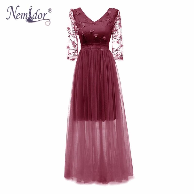 Nemidor 2018 Autumn Women Elegant 3/4 Sleeve Vintage Patchwork Party Dress Sexy Backless Mesh Slim Long Dress