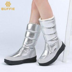 Image 4 - גבוהה מגפי נשים חורף נעלי נקבה סגנון כסף אופנה צבע מלא גדול גודל חם בפלאש מערכות שטוח outsole ישר עליון