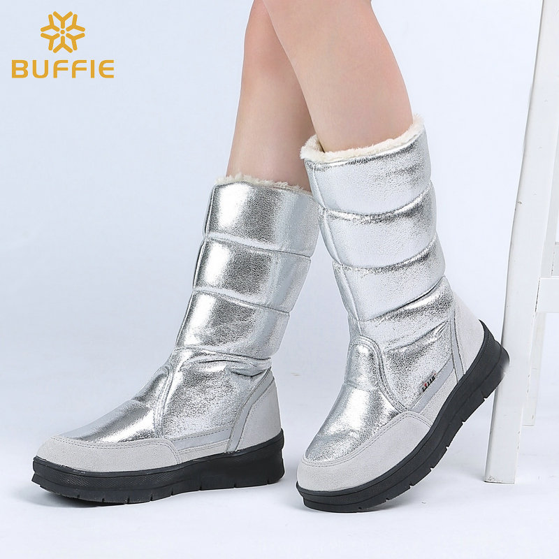 Image 4 - High Boots women winter shoes female style silver fashion colour full big size warm plush antiskid flat outsole Straight upper-in Knee-High Boots from Shoes