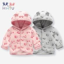 HHTU Baby Coat Boys Girls Pink Gray Autumn Winter Newborn Childrens Clothes Hooded Tops Cartoon Jacket Soft Fashion