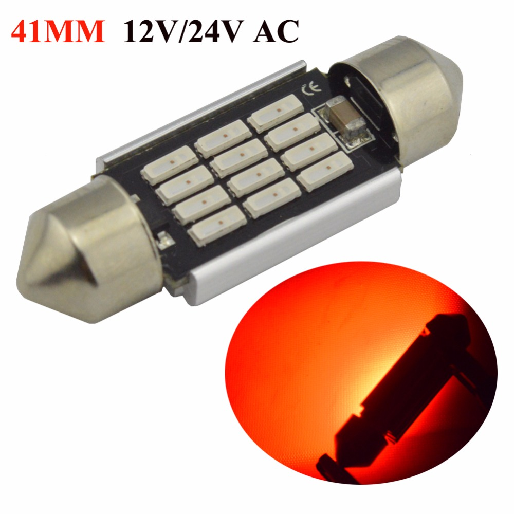 2x Red AC12V 24V car c5w c10w led Festoon CANBUS 31/36/39/41mm C5W ERROR FREE 4014 12 LED Smd Interior Dome Light SMD Roof Bulbs
