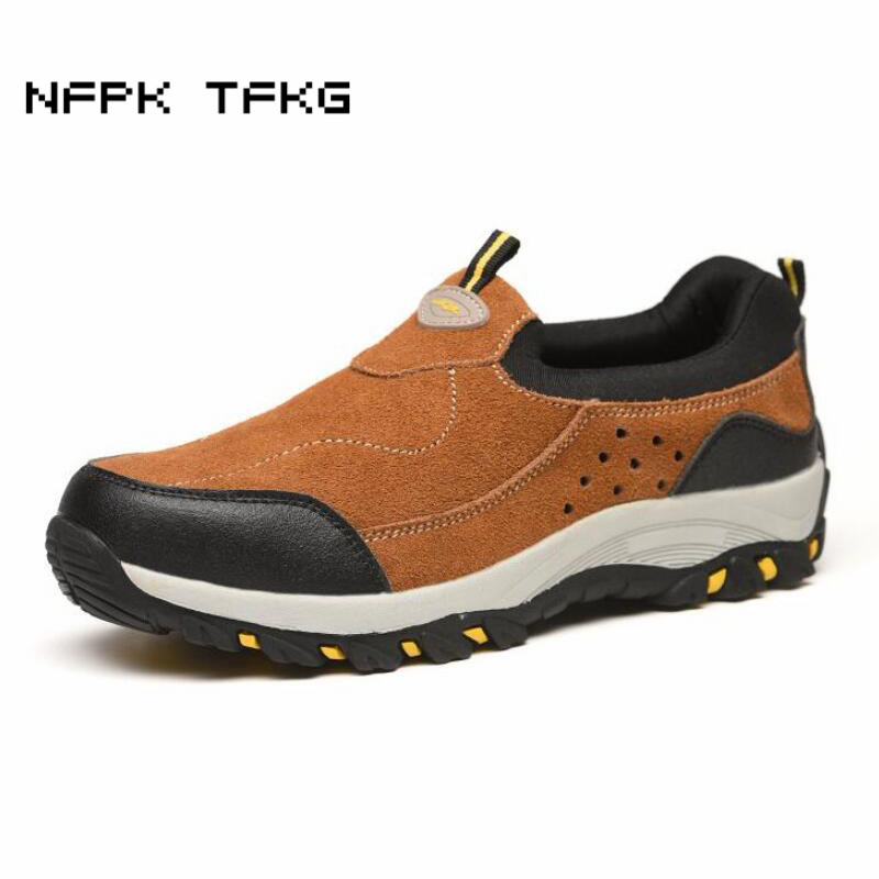 men's fashion big size comfortable steel toe covers work safety shoes slip on soft leather building site worker tooling boots