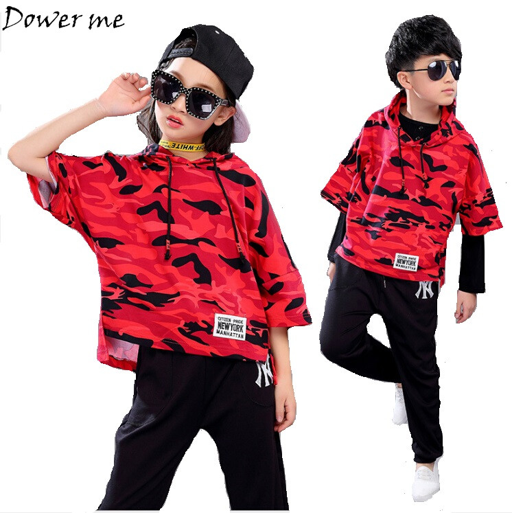 Teenager Girls Boys Kid Spring Summer Children Clothing Set Costumes Hip Hop Dance Sets Pants+Camouflage T-shirt SuitsTracksuits