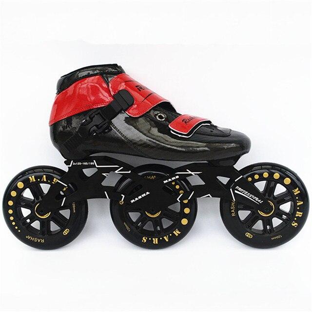 d16167d8cfa RASHA SCHAATSEN Snelheid skate Professionele 4 3 wielen Patins Hoge Sterkte  Glasvezel inline skates handgemaakte mannen