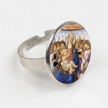 GDRGYB 2019 Blessed Virgin Mary Mother of Baby Ring Jesus Christ Christian Ring Catholic Religious Glass Ring Jewelry
