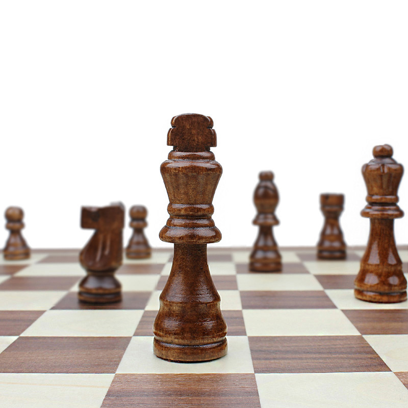 High Cost Performance Magnetic Folding Wooden Chess Set Solid Wood Chessboard Magnetic Pieces Entertainment Chess Games qenueson in Chess Sets from Sports Entertainment
