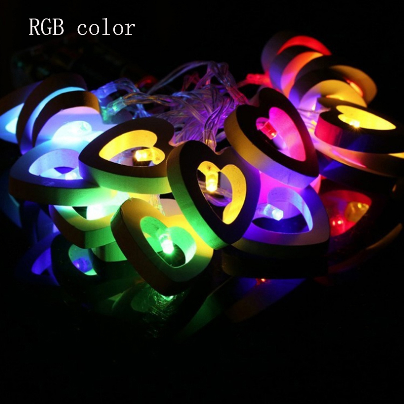 Romantic Wood Heart 1M 10 LED String Light Lámpara de San Valentín - Iluminación de vacaciones - foto 4