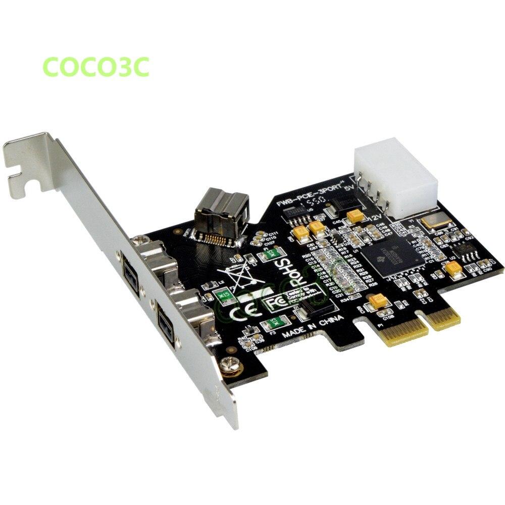 2 + 1 Card para 3 1394 para hd Portas Pcie Express Firewire 800 400 Ieee dv Filmadora Digital Câmera 1394b Pci