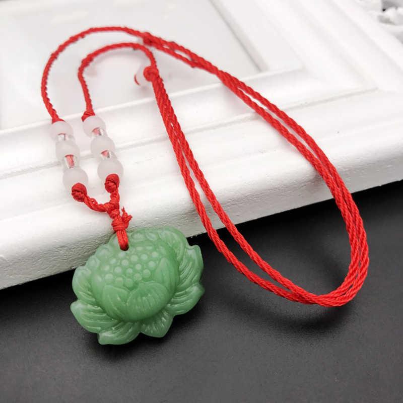 Dije blanco verde flor de loto colgante collar con cadena para hombres mujeres moda joyería de regalo de la suerte
