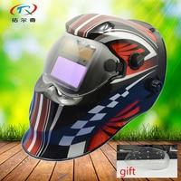 Welding mask Helmet with glass Auto Darken grinding red black full face welding helmet Solar and battery TIG MIG KD04(2200DE)g