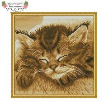 Joy Sunday DA243 14CT 11CT Stamped and Counted Home Decoration Sleeping Cat Needle