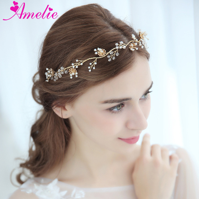 Wedding Headbands Misty Flower and Crystal Blossomed Gold Bridal Hair Vine  Prom Party Headpiece Engagement Hair Accessories 9b31ab79bc1