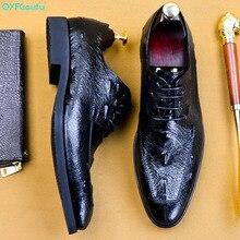 QYFCIOUFU Handmade Vintage Fashion Crocodile Shoes Men Party Wedding Formal Genuine Leather Derby Dress EU Size 46