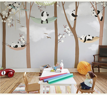 Bacaz Large Cute Panda Trees 3D Papel Murals Wallpaper for Kids Room-Free Shipping For Kids Rooms