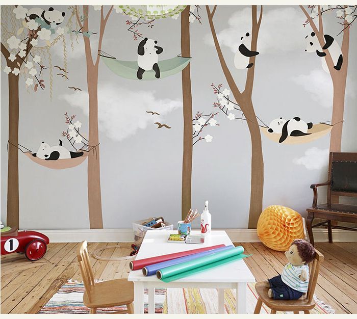Bacaz Large Cute Panda Trees 3D Cartoon Murals Wallpaper for Baby Child Room 3d Wall Photo Mural 3D Wall paper 3D Wall Stickers