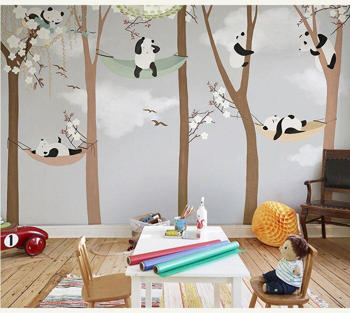 Bacaz Large Cute Panda Trees 3D Cartoon Murals Wallpaper for Baby Child Room 3d Wall Photo Mural 3D Wall paper 3D Wall Stickers