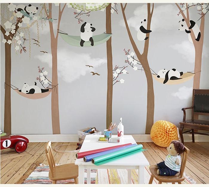 Bacaz Grand Mignon Panda Arbres 3d Cartoon Peintures Murales Papier Peint Pour Bebe Enfant Chambre 3d Mur Photo Murale 3d Papier Peint 3d Stickers