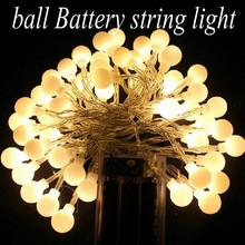 2M 20 LED ball AA Battery Operated LED String Lights for Xmas Garland Party Wedding Decoration Christmas Flasher Fairy Lights