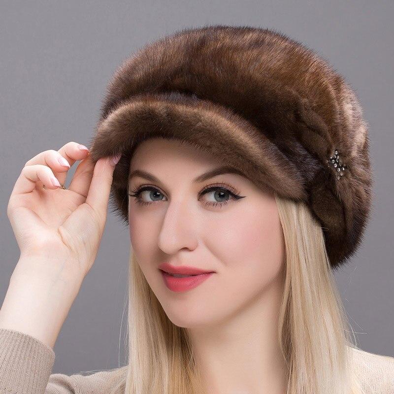 JKP зимняя женская меховая шапка кожа натуральная кожа норки cap 2018 Новая мода милый hat дамы теплая шапка DHY17 15A