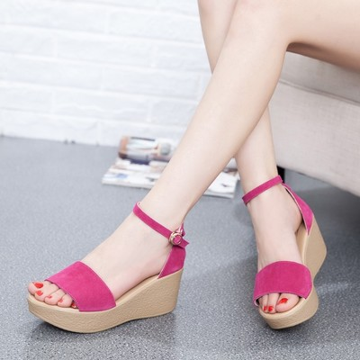 Women Shoes Roman Sandals High Heels Shoes Women Sandals Open Toe Real Leather Shoes Female Sandalias Mujer Sandalias Wedges