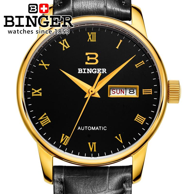 Switzerland men' watch luxury brand Wristwatches BINGER business Mechanical  leather strap Water Resistance BG-0397
