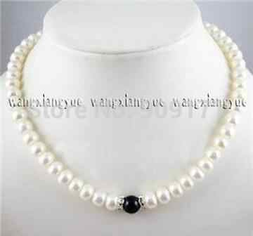 """ZCD 1027+++7-8mm Natural White Akoya Pearl/10mm Black Rich stone Beads Necklace 18"""""""