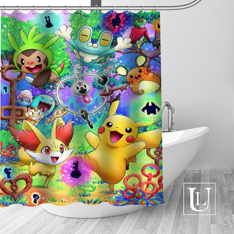 Custom Shower Curtain Pokemon Bathroom Curtains High Quality Polyester Bath Home Hotel Decoration