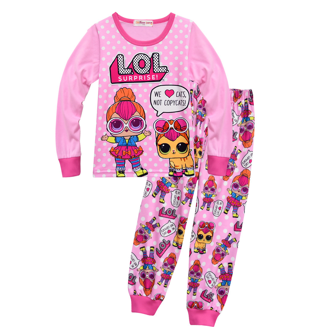 New Autumn Toddler Kids Pajamas Set Children Sleepwear Suit Lol Dolls for Girls Baby Girl Casual Cotton Nightwear Clothes Infant new 2018 children cloth 3d print autumn sleepwear rn 9 girls baby cotton girl sleepwear dress kids party princess nightgown