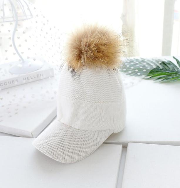 2018 fashion Autumn Winter Baseball Caps For Women Real Raccoon Fur Pom Poms Knitted Hat Casual Solid Color Bone Feminino