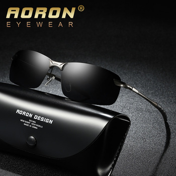 006e4ac5a7 -Sin montura gafas de sol polarizadas de los hombres Vintage gafas de sol  de conducción gafas de ojo de vidrio UV400 Retro Lunettes de soleil homme