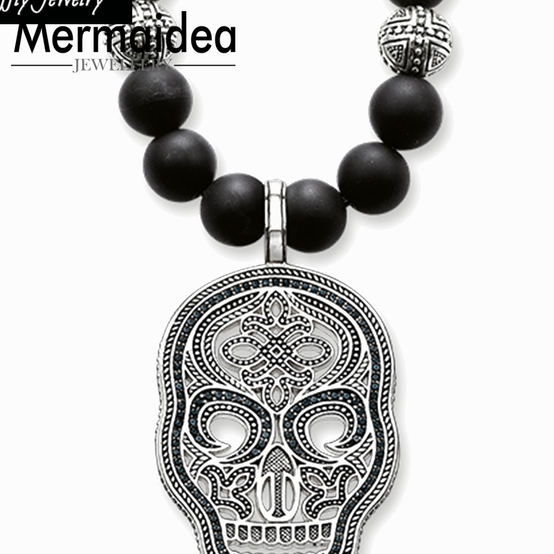 Collier squelette avec support en zircone noire, perles, pendentif en forme de crâne, bijoux en argent Sterling 925, 2019, cadeau pour hommes