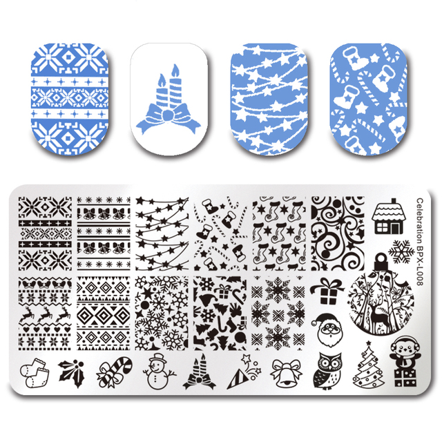 born pretty christmas rectangle nail stamping template 12 6cm