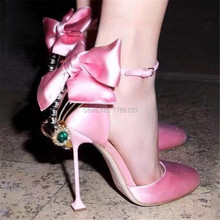 Cute Pink Fashion Women Sandals Bowtie Rhinestone Decor Ankle Wrap Summer Wedding Shoes Woman Gladiator High Heels Women Pumps