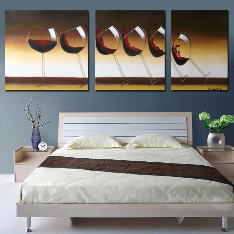 pinturas sobre tabla copa de vino hecho a mano barato moderno arte de la lona pinturas para comedor decorativo cuadros sin mar