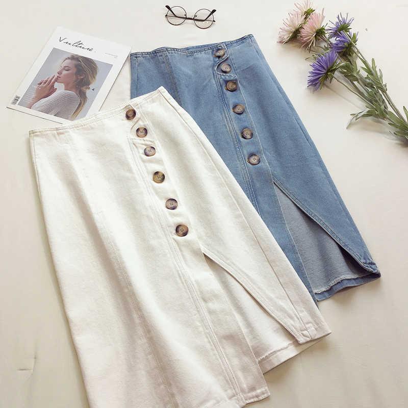 2019 летние белые синие джинсовые юбки женские с высокой талией плюс размер сплит кнопки для дизайна Карманы джинсовая юбка Повседневная миди юбка куртка