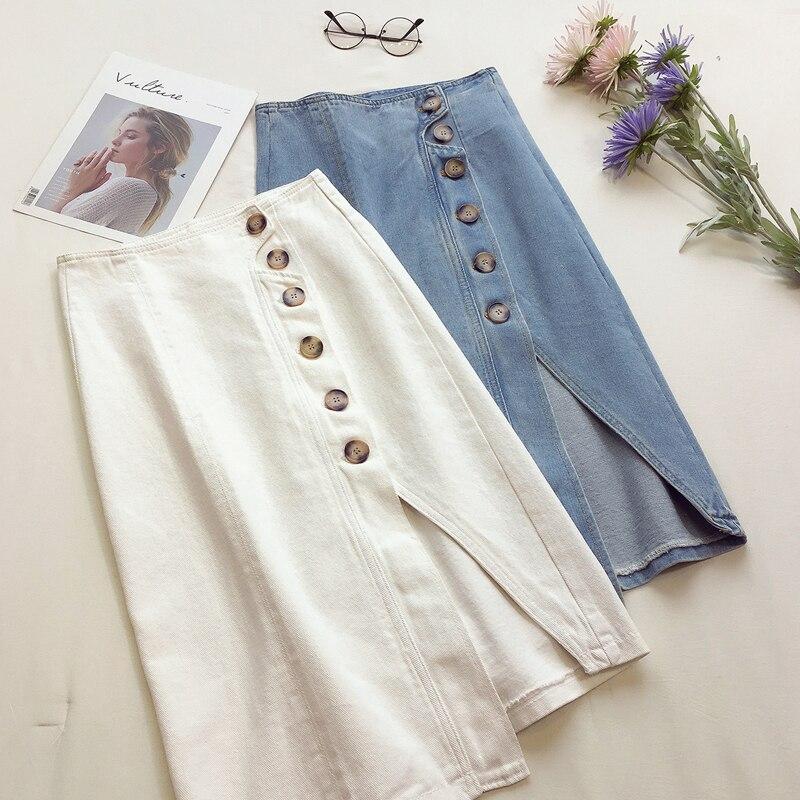 Summer White Blue Denim Skirts Womens High Waist Plus Size Split Single-breasted Midi Jeans Skirts Casual Skirts Jupe