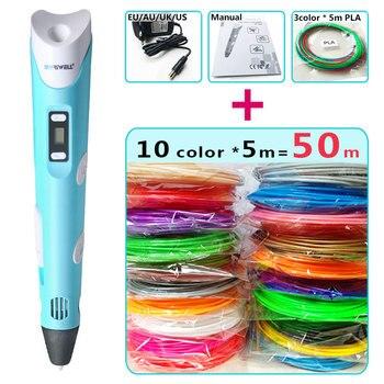 Myriwell 3d pen + 10 color * 5 M ABS filamento (50 m) pluma 3 d 3d modelo inteligente perfecto 3d pluma de impresión mejor regalo para niños pen-3d