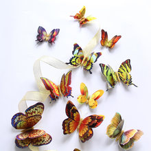 12Pcs Gold/Silver Double layer 3D Butterfly Wall Sticker Home decoration Holographic Butterflies on wall Magnet Fridge stickers