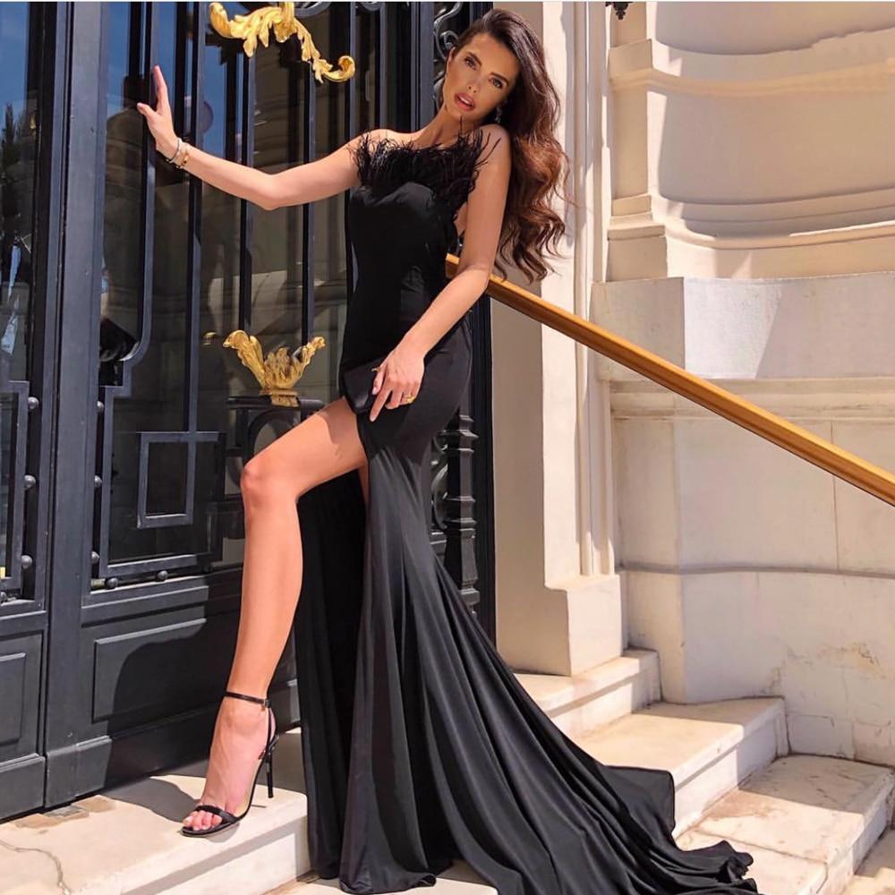 Feather Decoration Split Leg Strapless Black Maxi Dress Backless Bodycon Party Dress Sleeveless Stretch Maxi Dress