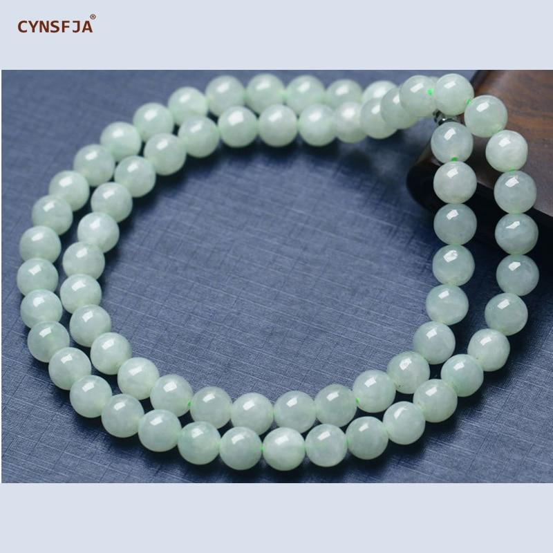 CYNSFJA véritable certifié naturel Grade A jadéite birmane 7mm perle Jade collier plus léger vert haute qualité bijoux fins meilleur cadeau
