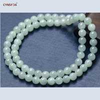 CYNSFJA Real Certified Natural Grade A Burmese  Jadeite 7mm Bead Jade Necklace Lighter Green High Quality Fine Jewelry Best Gift