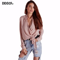 DDSOL Cotton Cropped Tops Blouse Women Streetwear Deep V Neck Long Sleeve Loose Bow Tie Blusas