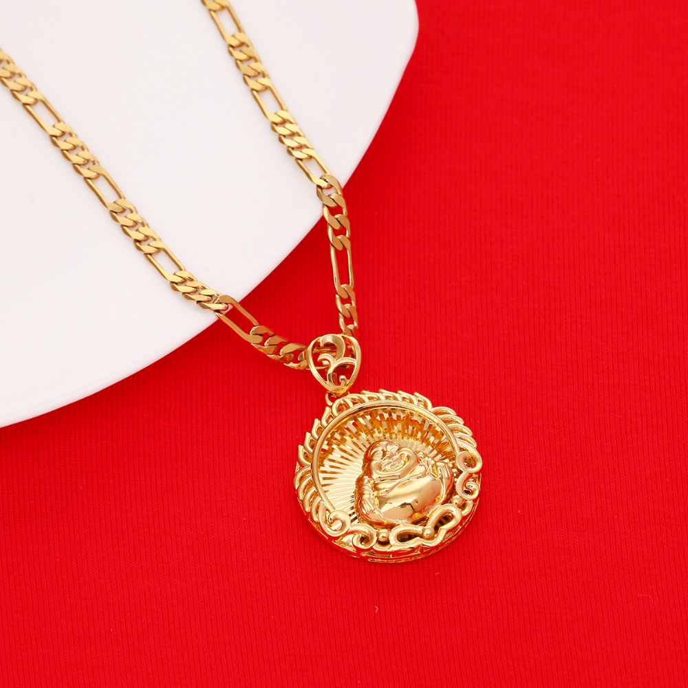 Buddhism Necklace For Women Men Gold Color Maitreya Buddha ...
