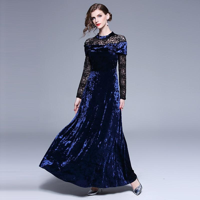 1c61ea0d3a7 Dames Robe Femmes Velours 2019 K7552 Maxi Manches Femme Partie Longue  Bureau Gothique Piste Jurken Bleu Longues Hiver rUwPrYxq